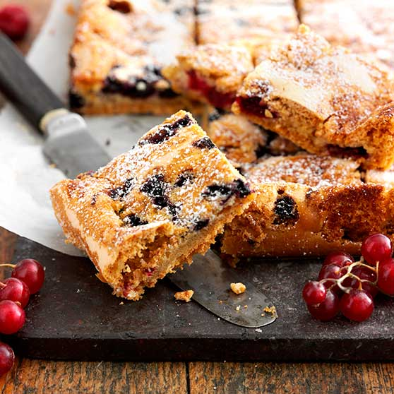 Berry cake in a roasting pan