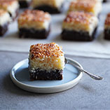Mud cake topped with coconut toffee glaze