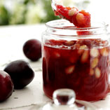Plum jam with almonds