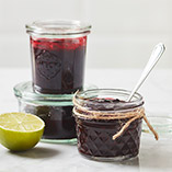 Raspberry and blueberry jam with a touch of lime