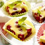 Panna cotta squares with raspberries