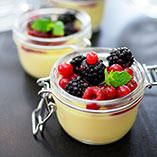 Panna cotta with lime-marinated berries