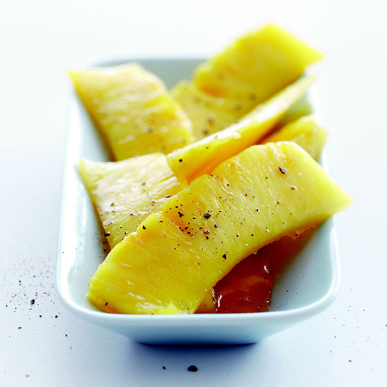 Caramelised pineapple with lime and syrup