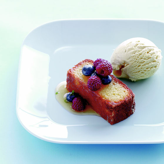 Marzipan cake with berries and ice cream