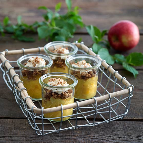 Apple compote with salted crumble