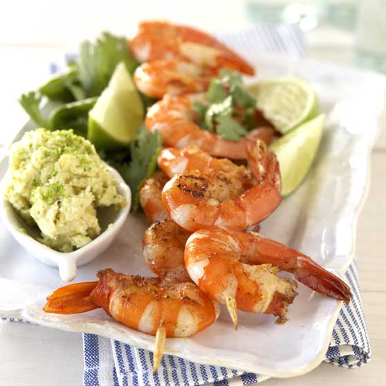 Prawn kebabs with lime butter