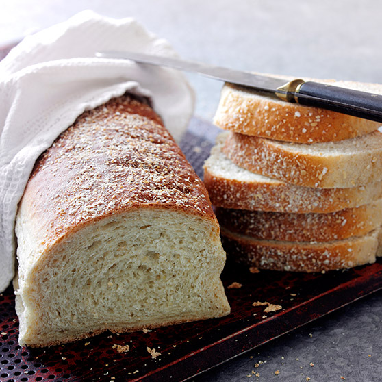 Bread with rolled oats in a roasting pan