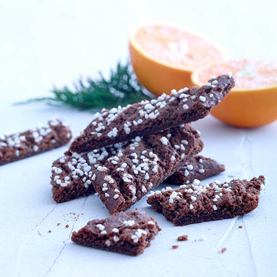 Chewy chocolate cookies with orange
