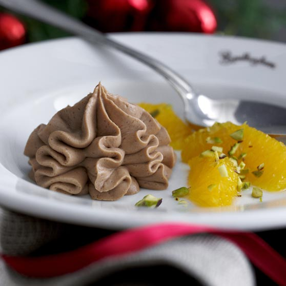 Chocolate mousse with orange salad
