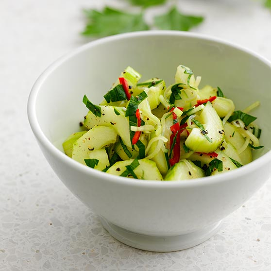 Cucumber salad with chili