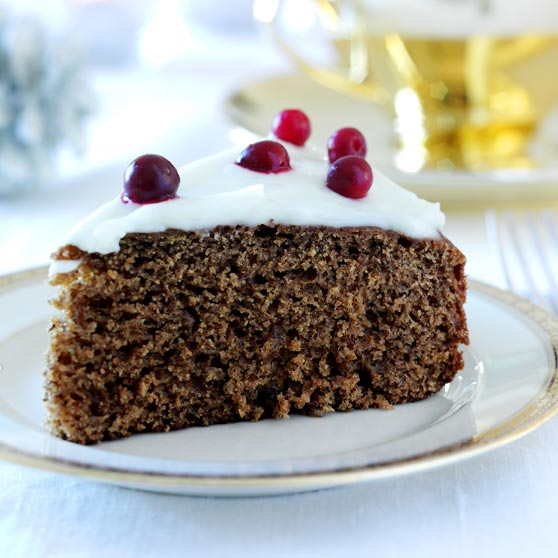 Gingerbread cake in a roasting pan