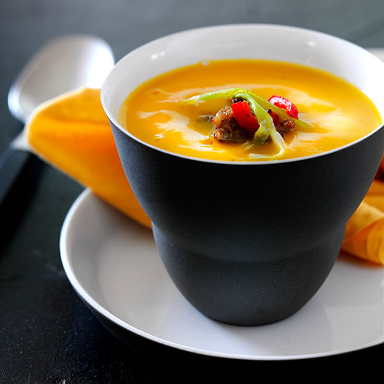 Hearty pumpkin soup with minced meat