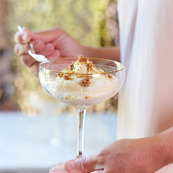 Lemon Mousse with Salted Crunchy Topping