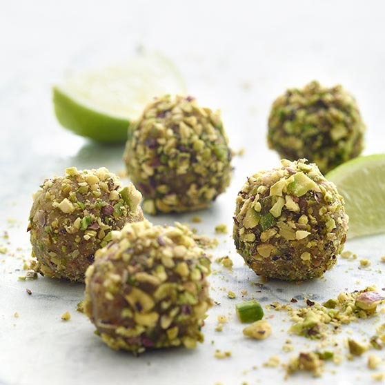 Pistachio balls with rose water