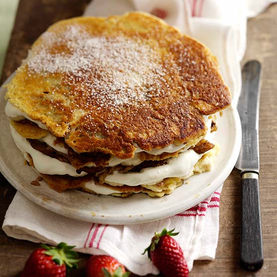 Special pancake stack with banana filling