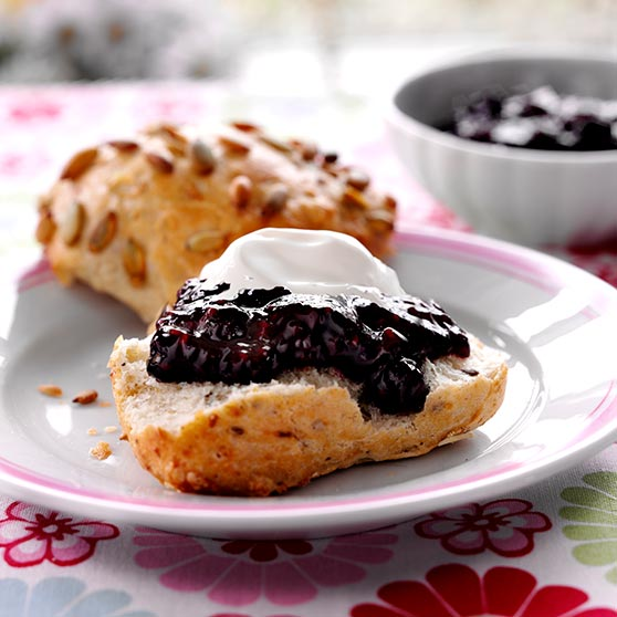 Raspberry and blueberry jam
